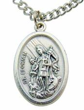 "St Florian Medal 3/4"" L w/ 24"" Endless Stainless Steel Chain Made in Italy"