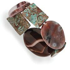 "6-8"" Polished Flat Geometric Magnesite Jasper Stretch Bangle Bracelet NEW"