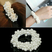 Women Bun Ponytail Elastic Hair  Accessory Band Scrunchie Pearl Bead Hairband