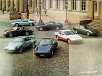 Falt-Prospekt / Poster brochure Porsche 911 Turbo SC S 924 928 - ca 1980
