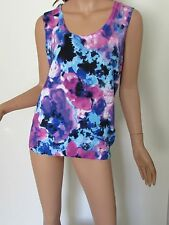 JONES NEW YORK Top M Sleeveless Knit Floral Cotton Blue Pink CAREER Womens NWT