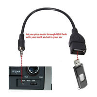 3.5mm Male AUX Audio Plug Jack To USB 2.0 Female Converter Adapter Cable Cord nn