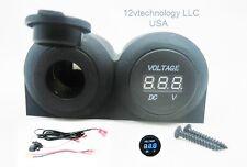 Battery Socket + Voltmeter Dash Status Monitor Solar Marine 12V RV Plug Outlet