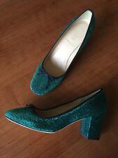 JCrew $228 Sophia Pumps in Glitter Sz 8 Green Blue Black Heels F8486
