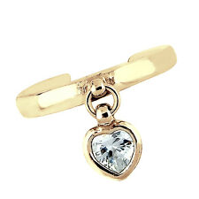 14K Solid Yellow Gold Dangle Heart CZ Toe Ring Adjustable