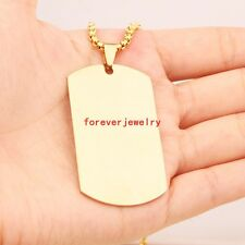 New Stainless Steel 18K Gold Plated Dog Tag Men Women Pendant Necklace Box Chain