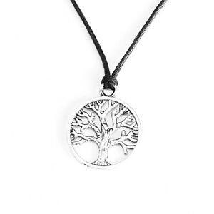Tree of Life Charm Pendant Choker Necklace Jewellery with Black Cord