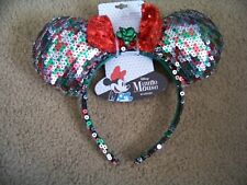 NWT Disney MINNIE MOUSE Ears Girls Size Headband Christmas Red Green Silver Bow