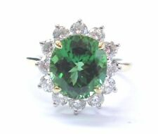 Tiffany & Co 18Kt & Plat Green Tourmaline Diamond Solitaire W Accent Ring 4.03Ct