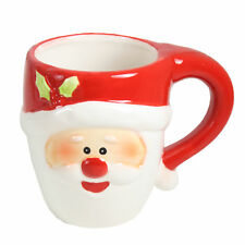Gift Works Novelty Christmas Ceramic Face Mug - Santa with Holly
