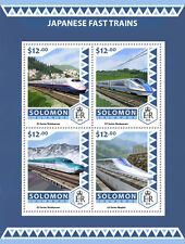 Solomon Islands 2016 MNH Japanese Fast Trains Shinkansen 4v M/S Mountains Stamps
