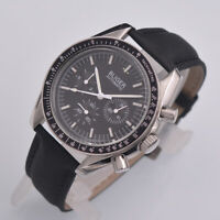 40mm Bliger black dial bow glass Stainless Steel case date automatic men's watch
