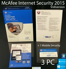 McAfee Internet Security 2015 versione completa 3 PC BOX + 1 Mobile Security OVP NUOVO