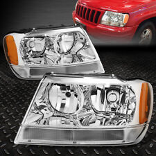 FOR 99-04 JEEP GRAND CHEROKEE WJ CHROME HOUSING AMBER CORNER HEADLIGHT HEAD LAMP