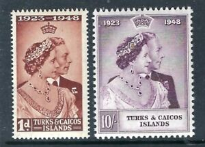 TURKS & CAICOS ISLANDS 1948 Silver Wedding MNH Set Complete (May 139)