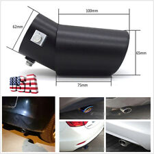 DIY Oval 62mm Black Stainless Bent Style Car Exhaust Pipe Tip Tailpipe Universal