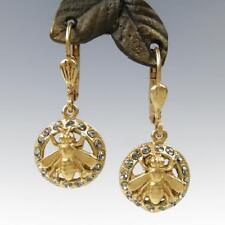 14K GP La Vie Parisienne Catherine Popesco Swarovski Crystal Bee Earrings