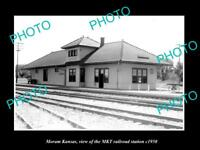 OLD LARGE HISTORIC PHOTO OF MORAM KANSAS, THE MKT RAILROAD STATION c1950 2