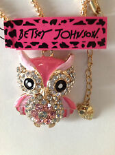 "PINK OWL w/ FLOWER TUMMY Enamel 28""  Necklace Betsey Johnson"