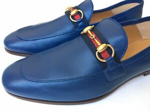 GUCCI Mens Jordaan Brixton Horsebit Loafer Blue Leather Sz 7 UK (US 7.5) $850