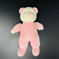 "Russ Baby Teddy Bear Plush Cream and Pink Rattle 9"" Stuffed Animal Lovey Velour"