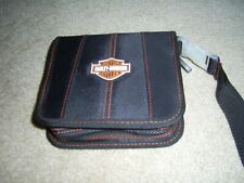 Harley Davidson CD case, 24 cap., denim, red stitching. Included 24 used CD's