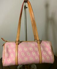 DOONEY & BOURKE DB Pink Canvas Brown Leather Small Barrel Tote Bag