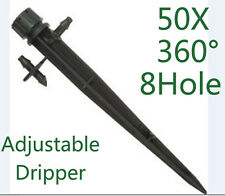 50PCS Adjustable Flow Irrigation Drippers 360 Degree Emitter Drip Set via Hook