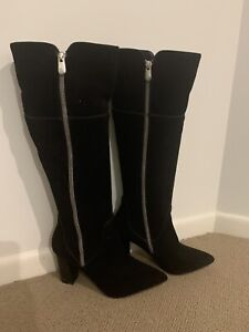 Adrienne Vittadini Women's Knee High Boots Black Size 7 Suede Double Zippers