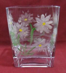 Teleflora DAISY VASE Clear Crystal, Hand Painted Flowers, Square/Rectangle