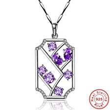Noble Jewelry Women's Gift Amethyst 925 Sterling Silver Necklace Chain Pendant