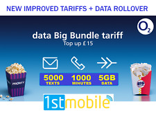 Pack of 2 x O2 SIM Cards, 5GB DATA, Pay As You Go, multi size to fit any mobile