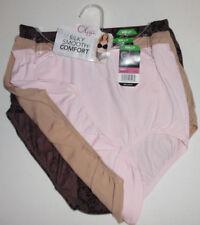3 Olga Panty Set Nylon Brief Without A Stitch Pink Beige Black Flower 7 L NWT