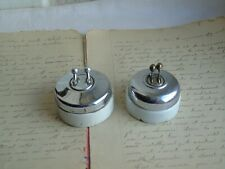 French set of 2 porcelain chrome metal switches  classic style