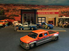 1:64 Hot Wheels Limited Edition Slammed Chevy Dually Crew Cab Orange and Silver