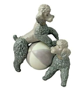 """Lladro Poodles Playing On A Ball - Gray - 3rd Mark 1971 - 1974 - Retired - 5.5"""""""