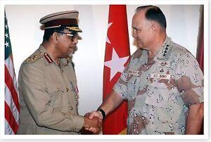General Norman Schwarzkopf With Qatar General Operation Desert Storm 8x12 Photo