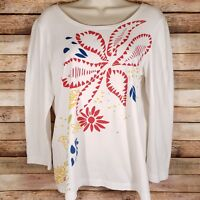 Chico's Zenergy Top Size 1 Medium M Long Sleeve Floral Sequins Stretch White