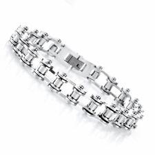 Men's Titanium Steel Bicycle Bike Chain Design Silver Energy Bracelet