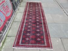 Vintage Traditional Hand Made Oriental Blue Red Wool Long Narrow Runner 274x92cm