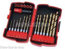 21 Pce Changement rapide tige hex Twist Drill Et Bit Set-métal bois et plastique