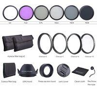 52MM Lens Filter Kit UV CPL FLD + ND 2 4 8 + Macro Close Up Lens Set for Nikon