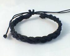 Waxed Cotton Bracelet Anklet Wristband / Black / Mens Womens Kids Surf