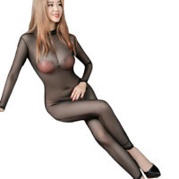 See Through Transparent Backless Bodystocking Long Sleeve Bodysuit Club Cats TR