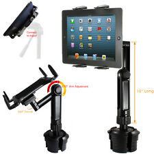 LONG ARM Car Cup Holder TRIPOD Mount FOR APPLE iPad AIR PRO 12.9 SURFACE TABLET