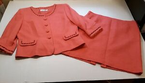 Tahari Arthur S. Levine Womens Size 16 Petite  Blazer Skirt Suit Pink