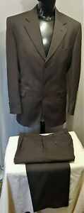 Size 107 42 STUDIO UOMO 3 button wool rich blend mens suit brown check business