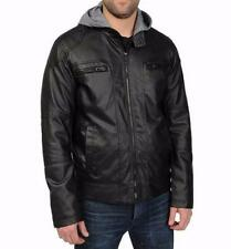 EXCELLED® Men's L Black Faux Leather Motorcycle Jacket w/ Jersey Hood *NWT $150