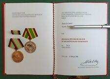 DDR Medaille + Urkunde - NVA - Medaille für treue Dienste Nationale Volksarmee