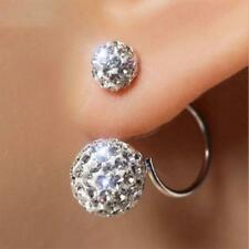 Chic Women Fashion Jewelry Silver Plated Double Beads Crystal Earring